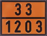 Einstoff-Warntafel für Benzin/Ottokraftstoff, UN 33/1203, Stahl, 400x300 mm