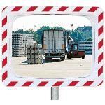 Verkehrsspiegel Unzerbrechlich,Kunststoff weiß mit rot refl. Markierung,40x60 cm