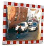 Verkehrsspiegel aus Edelstahl,voll retroreflektierender rot/weißer Rand,40x60 cm