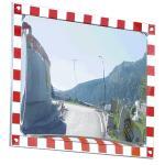 Verkehrsspiegel vereisungsfrei,Edelstahl,voll retrorefl. rot/weißer Rand,60x80cm
