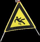 Faltsignal mit Symbol Warnung vor Rutschgefahr, gelb/schwarz, 600 mm SL