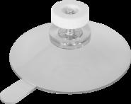 Sauger transparent mit Lasche, Schraube und weißer Kunststoffmutter, ┼Ø 50 mm