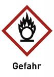 Oxidierend (GHS 03) Gefahr, Folie, 52x74 mm, 10 Stück/Bogen