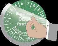 Transparentes Schutzlaminat für Prüfplaketten, Folie, Ø 15 mm, 10 Stück/Bogen