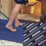 Arbeitsplatzmatte Heronrib 2000, Vinyl, blau, 100 cm Breite