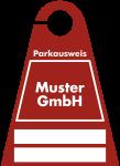 Parkausweis mit weißem Firmeneindruck, Kunststoff transparent, 120x165 mm