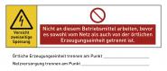 Warnhinweis für eine PV-Anlage (Photovoltaikanlage), Folie, 140x60 mm