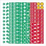 144 Piktogramme für Brandschutz u. Fluchtweg, Folie, 8mm, nach alter ASR A1.3