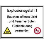 Explosionsgefahr! Rauchen, offenes Licht und Feuer ..., Kunststoff, 30x40 cm