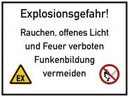 Explosionsgefahr! Rauchen, offenes Licht und Feuer ..., Kunststoff, 400x300 mm