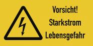 Vorsicht! Starkstrom Lebensgefahr, Kombischild, Folie, 300x200 mm