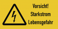 Vorsicht! Starkstrom Lebensgefahr, Kombischild, Folie, 105x52 mm