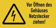 Vor Öffnen des Gehäuses Netzstecker ziehen!, Kombischild, Folie, 74x37 mm