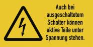 Auch bei ausgeschaltetem Schalter..., Kombischild, Folie, 74x37 mm