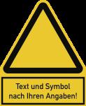 Warnzeichen - Symbol und Text nach Ihren Angaben, Kunststoff, 200x244 mm