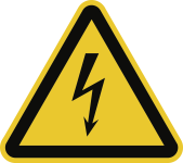 Warnung vor elektrischer Spannung ISO 7010, Alu, 400 mm SL