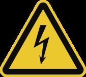 Warnung vor elektrischer Spannung ISO 7010, 50 mm SL, Folie, 500 Stück/Rolle