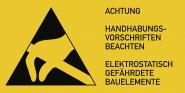 Elektrostatisch gefährdete Bauelemente,Kombischild,Folie, 74x37 mm, 10 Stk./Bog.