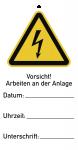 Sicherheitsanhänger Vorsicht!Arbeiten an d. Anlage,Kunststoff,76x147mm,10Stk./VE