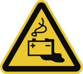 Warnung vor Gefahren durch Batterien ISO 7010, Alu, 200 mm SL