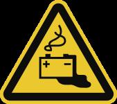 Warnung vor Gefahren durch Batterien ISO 7010, Alu, 300 mm SL