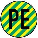 Schutzleiter PE, gelb/grün, Folie, 500 Stück auf Rolle, Ø 1,25 cm