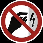 Berühren verboten - Gehäuse unter Spannung BGV A8, Kunststoff, Ø 200 mm