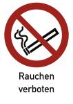 Rauchen verboten ISO 7010, Kombischild, Folie, 131x185 mm
