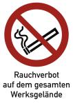 Rauchverbot Werksgelände ISO 7010, Kombischild, Alu, 400x600 mm