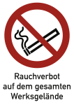 Rauchverbot Werksgelände ISO 7010, Kombischild, Kunststoff, 262x371 mm