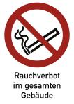 Rauchverbot im gesamten Gebäude ISO 7010, Kombischild, Kunststoff, 262x371 mm