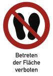 Betreten der Fläche verboten ISO 7010, Kombischild, Kunststoff, 297x210 mm