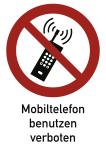 Eingeschaltete Mobiltelefone verboten ISO 7010, Kombischild, Folie, 210x297 mm