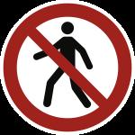Für Fußgänger verboten ISO 7010, Alu, Ø 200 mm
