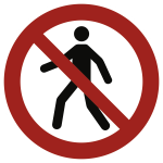 Für Fußgänger verboten ISO 7010, Folie, Antirutsch, Ø 400 mm