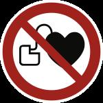 Kein Zutritt für Personen mit Herzschrittmacher ISO 7010, Alu, Ø 200 mm