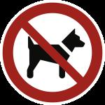 Mitführen von Hunden verboten ISO 7010, Folie, Ø 100 mm
