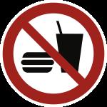 Essen und Trinken verboten ISO 7010, Alu, Ø 200 mm