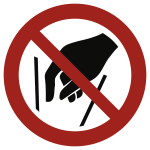 Hineinfassen verboten ISO 7010, Folie, Ø 100 mm