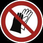 Benutzen von Handschuhen verboten ISO 7010, Folie, Ø 100 mm