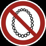 Bedienung mit Halskette verboten, Folie, Ø 100 mm