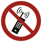 Eingeschaltete Mobiltelefone verboten ISO 7010, Alu, Ø 200 mm