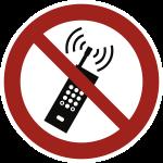 Eingeschaltete Mobiltelefone verboten ISO 7010, Folie, Ø 100 mm