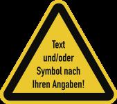 Warnzeichen - Text und/oder Symbol nach Ihren Angaben, Kunststoff, 50 mm SL