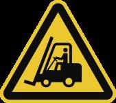 Warnung vor Flurförderzeugen ISO 7010, Alu, 300 mm SL