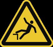 Warnung vor Absturzgefahr ISO 7010, Alu, 300 mm SL