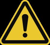 Allgemeines Warnzeichen ISO 7010, Kunststoff, 200 mm SL