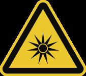 Warnung vor optischer Strahlung ISO 7010, Folie, 100 mm SL