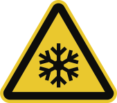 Warnung vor niedriger Temperatur/Frost ISO 7010, Folie, 200 mm SL