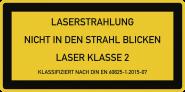 LASER KLASSE 2 DIN 60825-1, Textschild, Folie, 52x26 mm, 10 Stück/Bogen